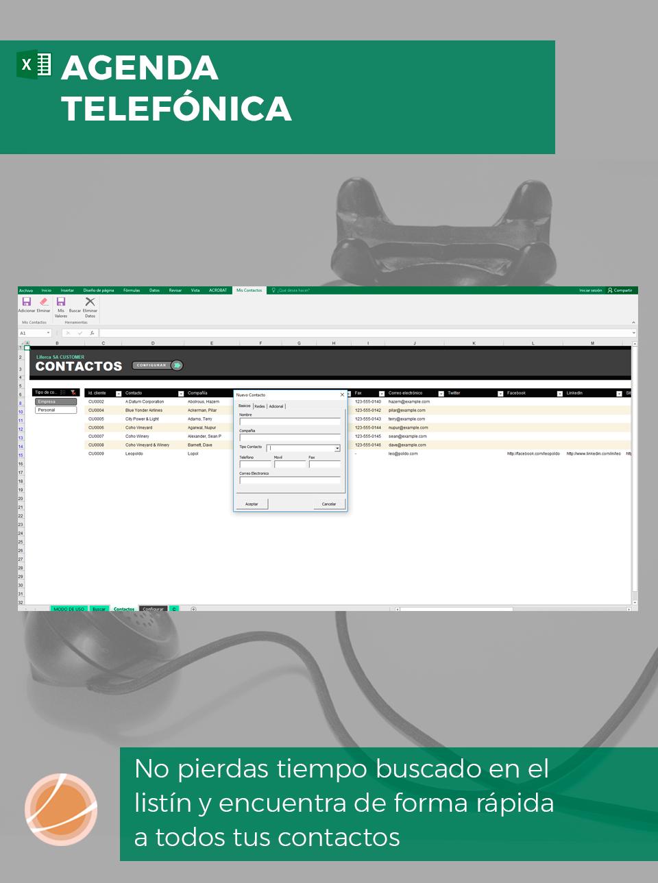 Plantilla Excel agenda de contacto