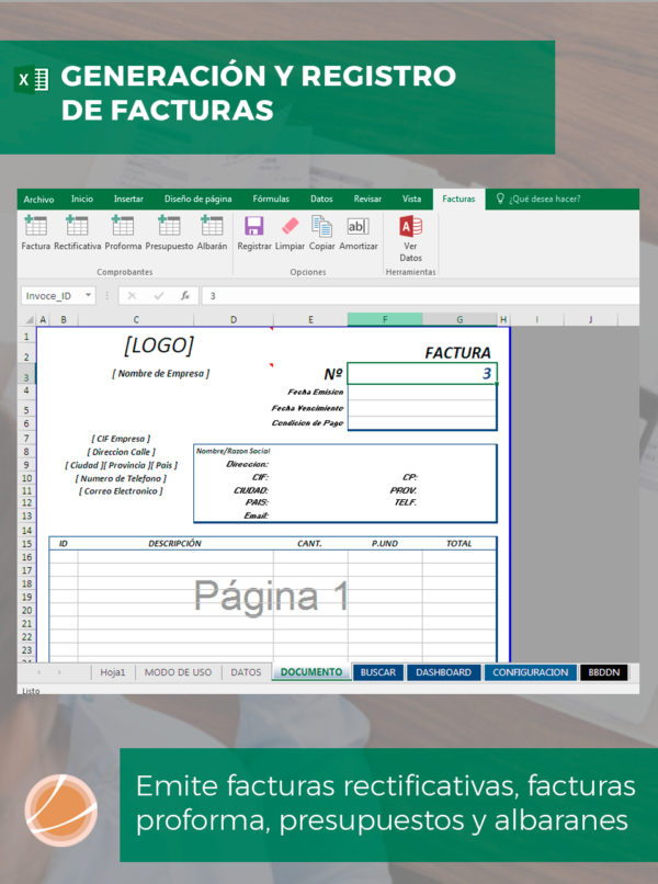 Plantilla Excel para facturas