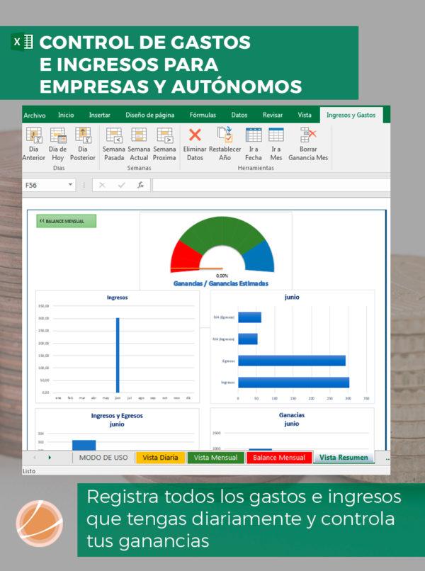 plantilla para el control de gastos e ingresos para empresas y autónomos