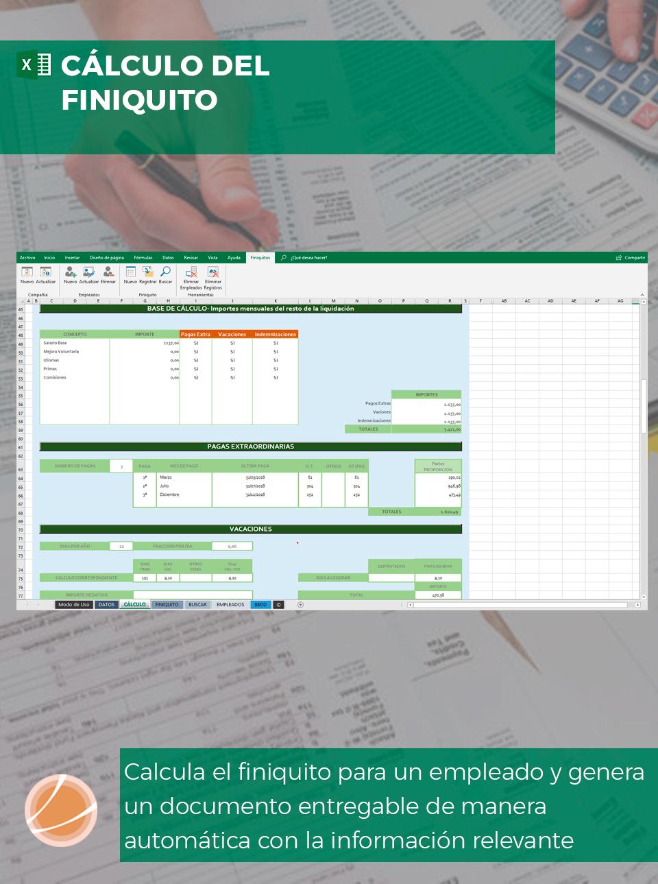 Plantilla de Excel finiquito