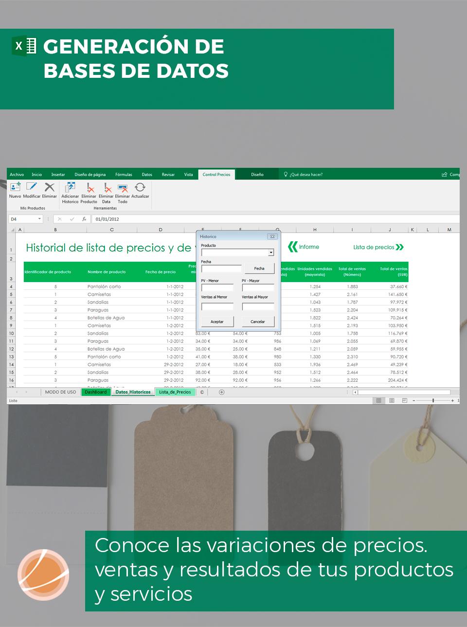 Histórico de precios de ventas en Excel