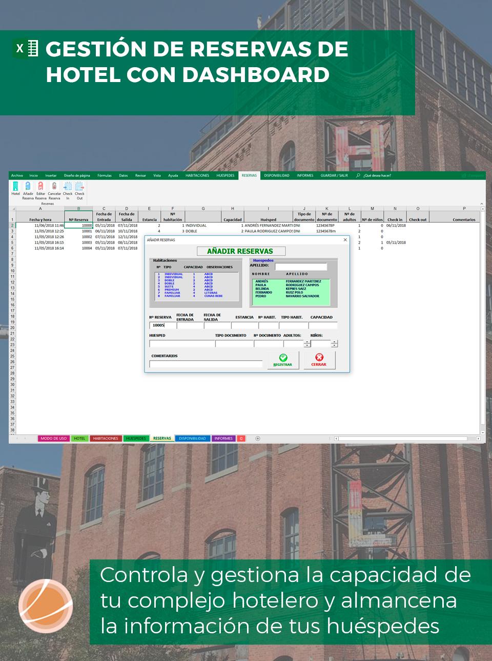 reservas de huéspedes con Excel