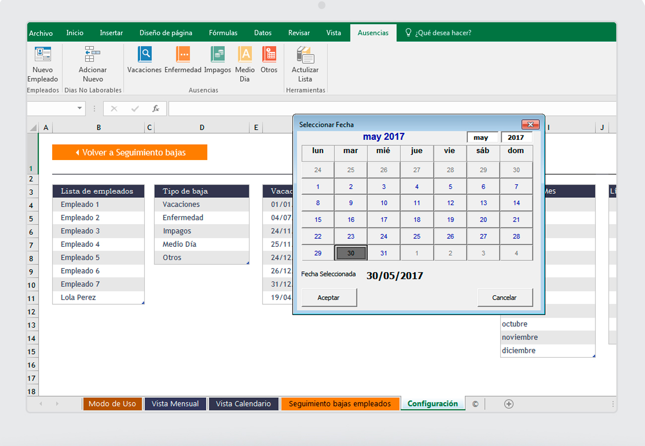 Excel para el seguimiento de ausencias y vacaciones de los empleados