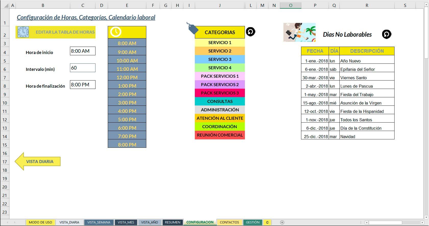 Calendario laboral excel