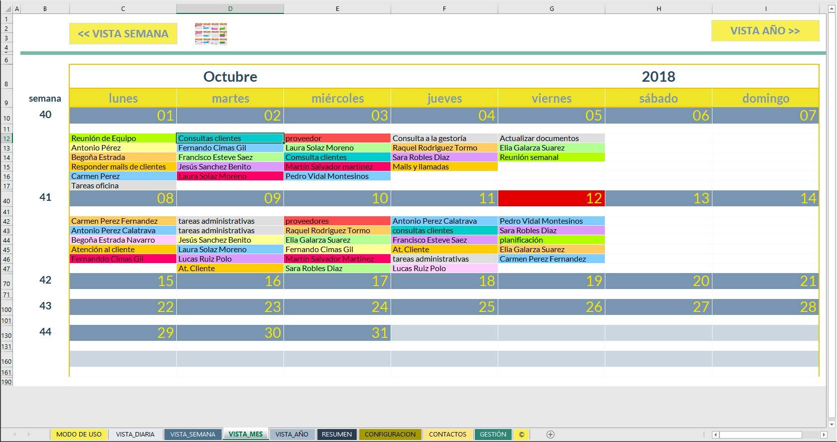 Plantilla de agenda para Excel