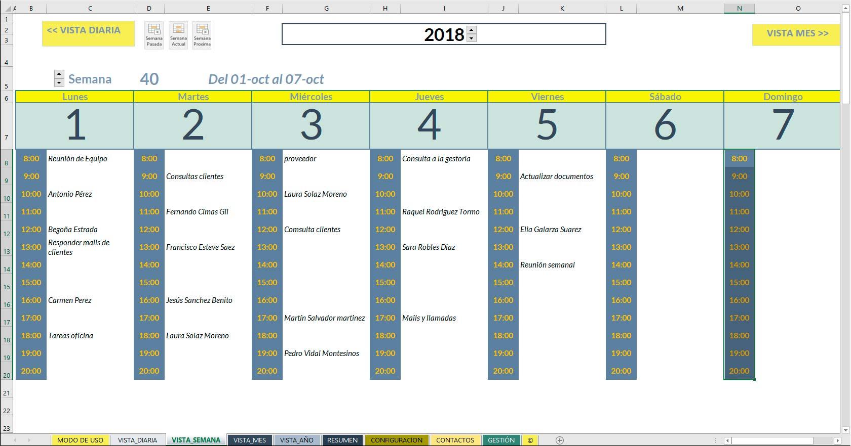 Excel planificación de tareas