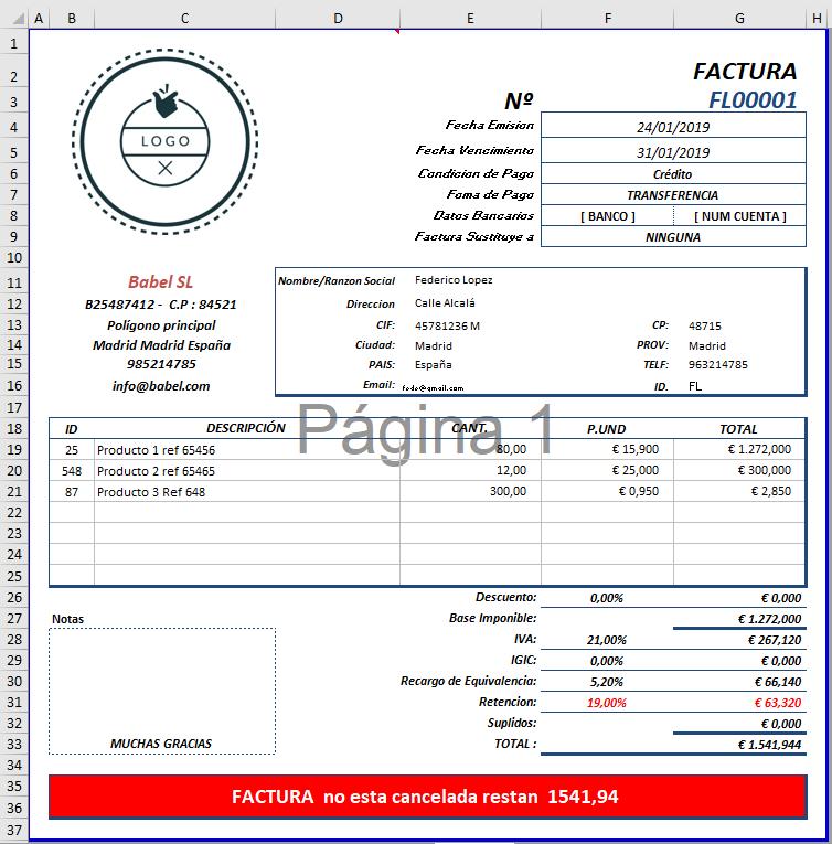Plantilla de factura completa en excel para empresas y autónomos