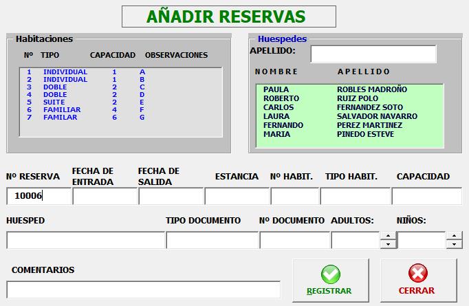 Plantilla Excel para reservas de hotel