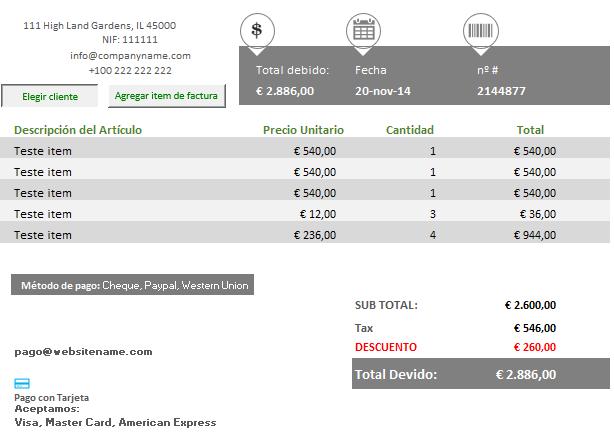 Plantilla Excel para elaborar presupuestos