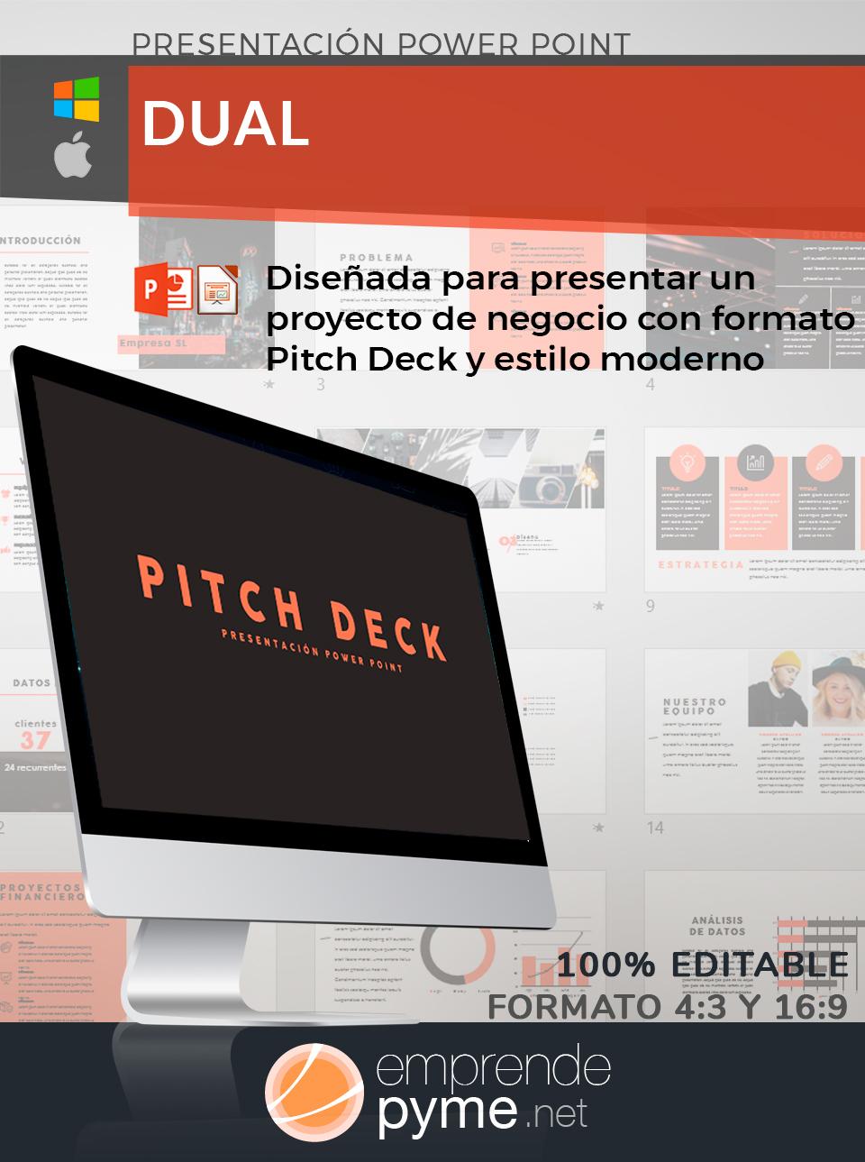 Modelo Pitch Deck para proyecto de empresa