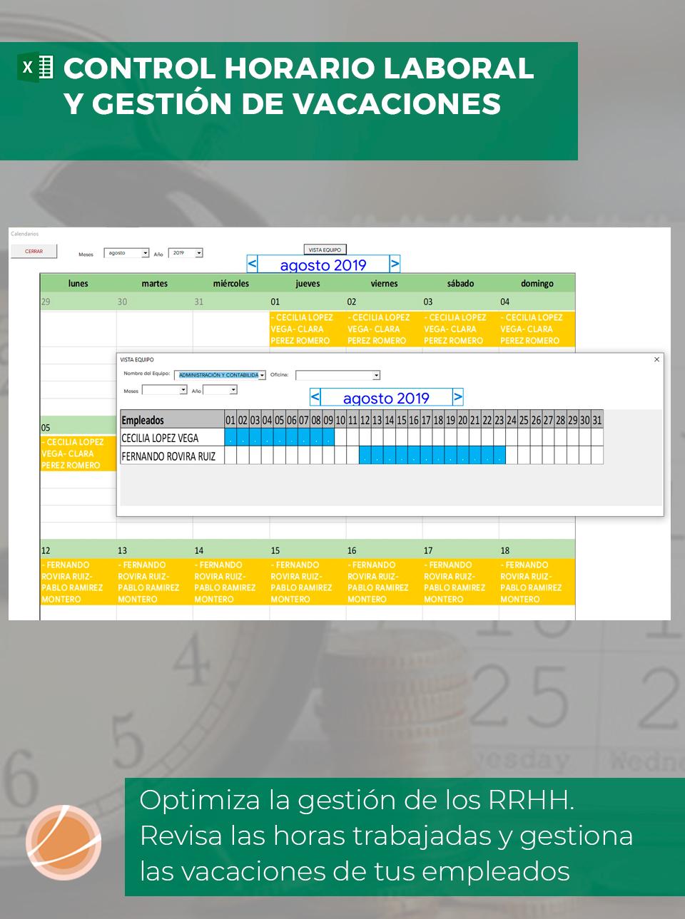 Cuadrante de vacaciones de os trabajadores en Excel