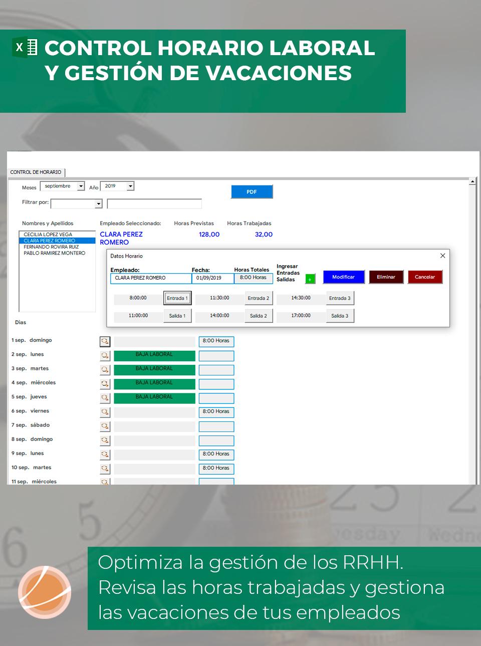 Hoja Excel de control horario de trabajo